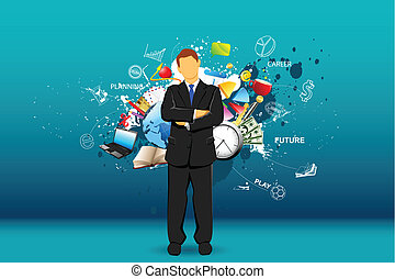 Life of Man - illustration of standing businessman with...