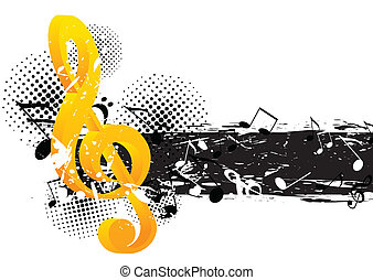 Grunge music background with g-clef and notes