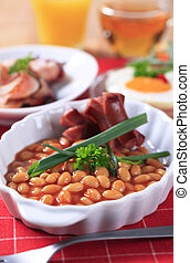 Cooked breakfast or brunch - English breakfast of baked...