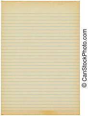 Old yellowing lined blank A4 paper isolated