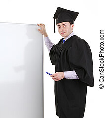 Graduate with a board, - A graduate with a board, isolated...