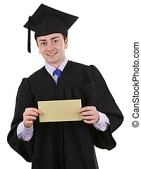 Graduate with an envelope - A graduate with an envelope,...