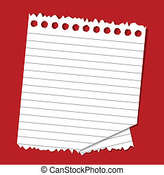Lined Paper - illustration of lined paper on plain red...