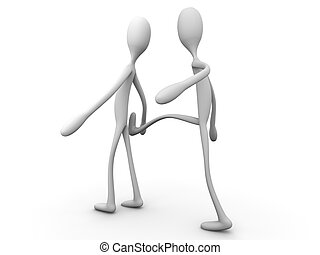He kicked him. 3D rendered cartoon illustration. Isolated on...