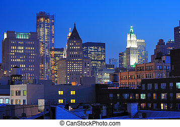 Lower Manhattan Skyscrapers - financial district of...