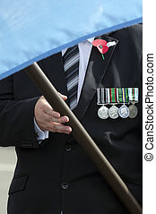 Anzac Day - War Memorial Service - Close up of a NZ veteran...