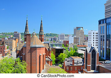 Downtown Birmingham, Alabama - Cathdral of St. Paul amongst...