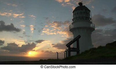 Cape Brett sunrise - Sunrise over Cape Brett lighthouse, Bay...