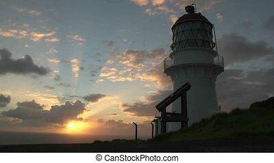 Cape Brett sunrise - Sunrise over Cape Brett lighthouse, Bay...