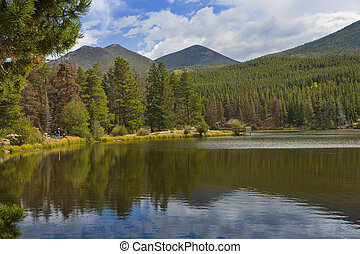 Sprague Lake at Rocky Mountain National Park in Estes Park...