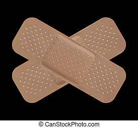 Adhesive bandage - Band aid isolated over a black background