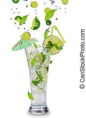 Mojito drink - Fresh mojito drink with falling limes into...