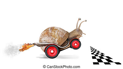 Speedy snail like car racer Concept of speed and success...