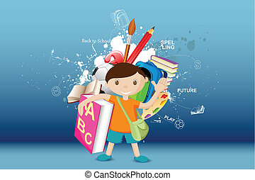 Life of a Boy - illustration of boy standing with book on...