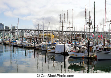 Marina at Granville Island - Yachts Moored by the Marina at...
