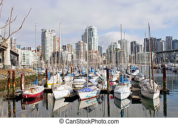 Marina and Condomiuniums at Granville Island - Yachts Moored...