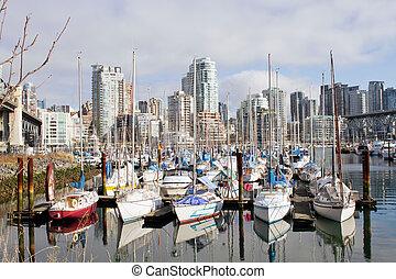 Marina and Condomiuniums at Granville Island - Yachts Moored...