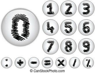 Alphabet Scribble Numbers in shiny White Buttons