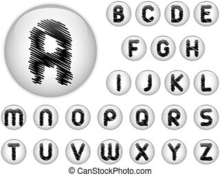 Alphabet Scribble Letters in shiny White Buttons