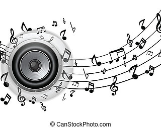 Speaker Glass Button with Music Notes - Vector - Speaker...