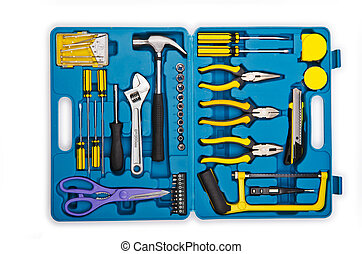Toolkit with many tools isolated on white
