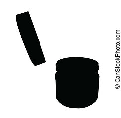 Small Jar with Open Lid Silhouette Isolation - Vector...