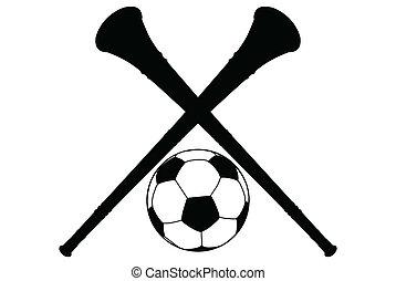 Vuvuzela Horn and Soccer Ball Silhouette Isolation