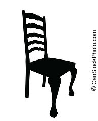 Antique Dining Table Chair Silhouette Isolation - Vector...