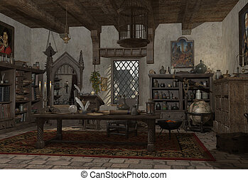 The Alchemist's Study - Alchemist's study with books,...