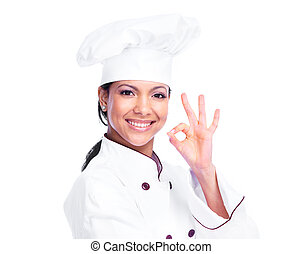 Chef woman Isolated on white background
