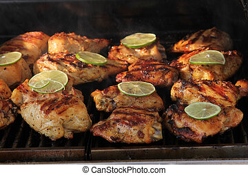 Barbeque Chicken with Lime Slice - Summer time barbeque of...