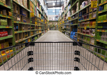 Concept Photo - Shopping Trolley Cart - An empty shopping...
