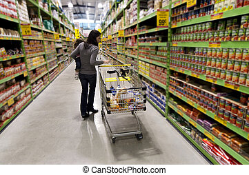 Concept Photo - Shopping Trolley Cart - Female customer...