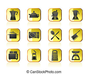 kitchen and household icons - kitchen and household...