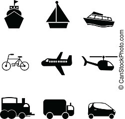 transport silhouettes icons