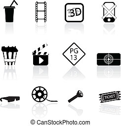 movie and cinema silhouettes icons