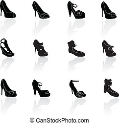 shoes silhouettes icons