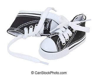 Laced Tennis Shoes - Laced up black tennis shoes for sports...