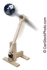 World War Wooden Catapult - The world being thrown by a...