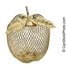 Wire Frame Golden Apple - Wire frame golden apple with gold...