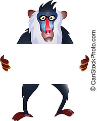 baboon with blank sign - illustration of baboon with blank...