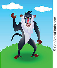 baboon in the wild - illustration of baboon in the wild