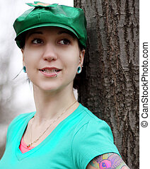 beautiful lady in green hat