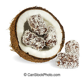 Coconut with chocolate cake on white