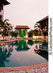 Swimming pool at hotel Udonthani, Thailand