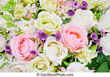 Colorful artificial roses