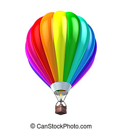 colorful air balloon 3d illustration isolated over white