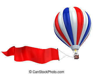 air balloon advertisement 3d illustration