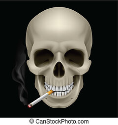 Human Skull with a cigarette Illustration on black...