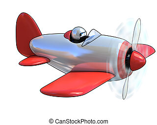 cartoon like airplane 3d illustration isolated on white...